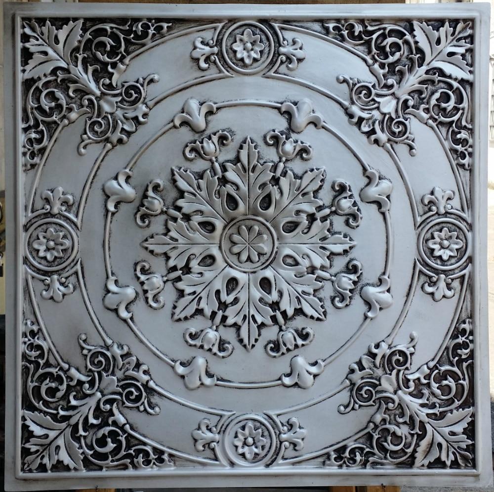 Pl18 Faux Finish Ceiling Tiles Antique White Color