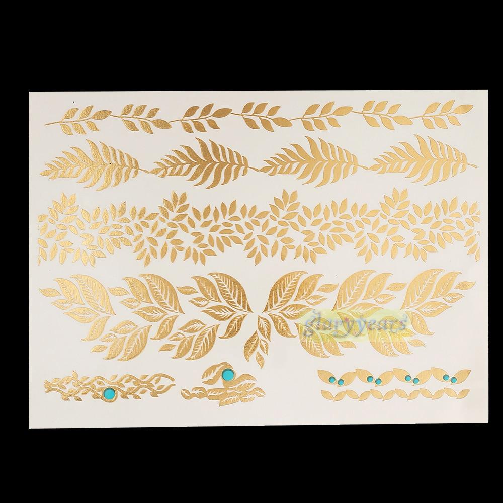 1PC Flash Metallic Waterproof Tattoo Gold Silver Women Henna YS-58 Flower Leaf Branch Bracelet Temporary Tattoo Sticker Paster