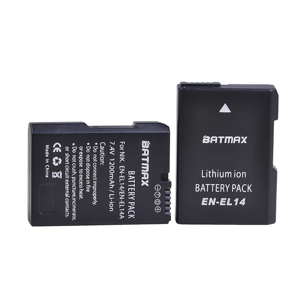 Batmax EN-EL14 EN-EL14A EL14 Replacement Camera Battery For Nikon D3100 D3200 D3300 D3400 D3500 D5600 D5100 D5200 P7000 P7800