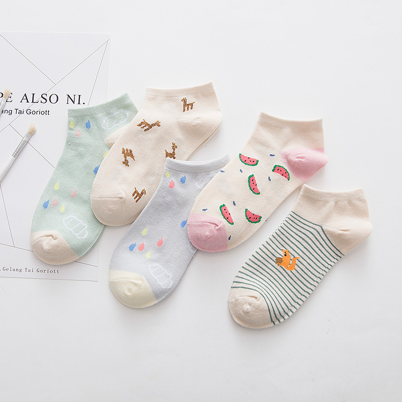 2019 New Fashion Lovely Cartoon Sweet Cotton Women   Socks   Cute Ladies and Female   Socks   Fashion Casual Short   Socks   Girl Sox