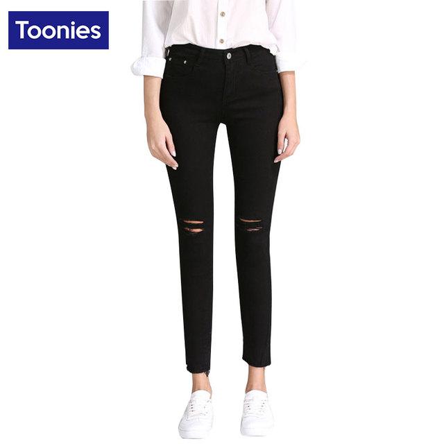 Negro Jeans Mujer Lápiz Pantalones vaqueros Rasgados Agujero Flacos Novio Streetwear Jean Rebabas Pantalones Más Tamaño Todo-Fósforo Europeo