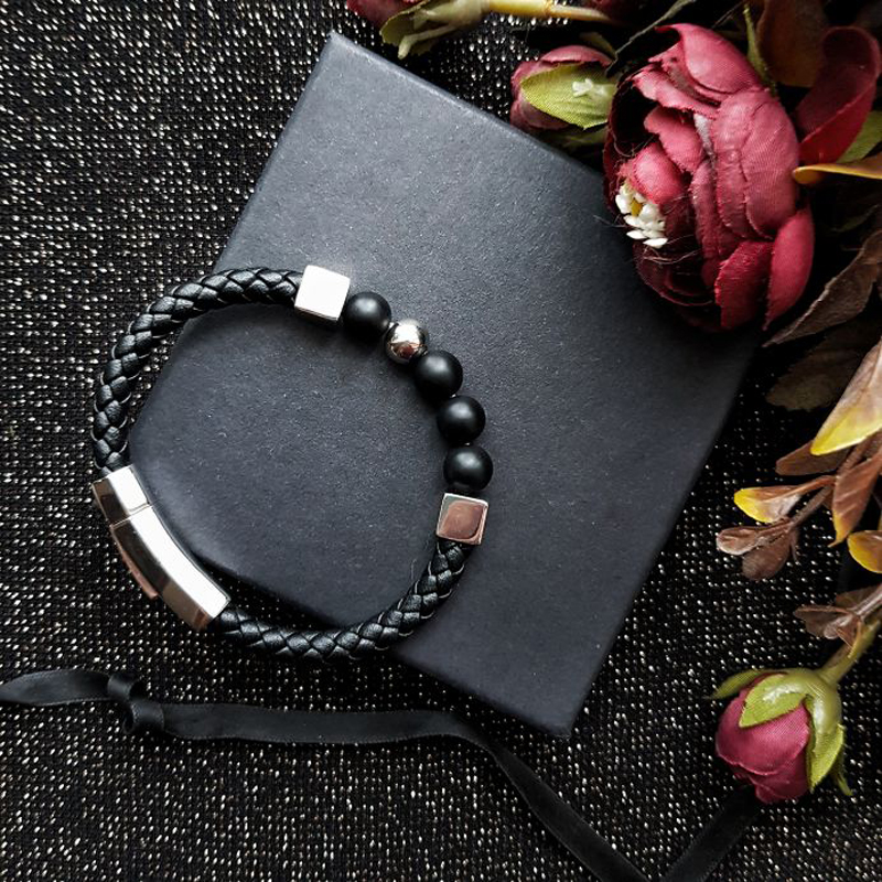Mcllroy Bracelet Men/genuine Leather/stainless Steel/stone Beads/men Bracelet Gold Luxury Jewelry Fashion Pulseira Masculina