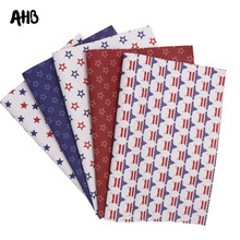 AHB Faux Leather Sheets Stars Strip Printed Synthetic Leather For DIY Hair Accessories Independence Day Handmade Decor Materials цена и фото