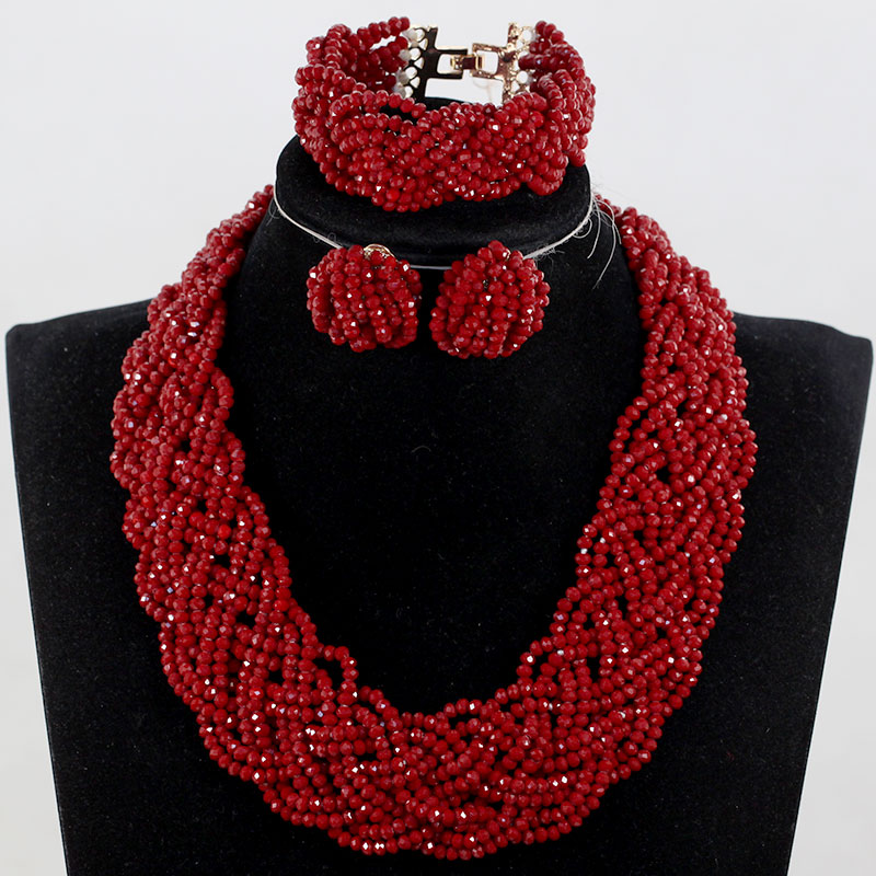 Exclusive  African Beads Necklace Jewelry Sets Claret Handmade Bib Necklace for Women Free Shipping QW905