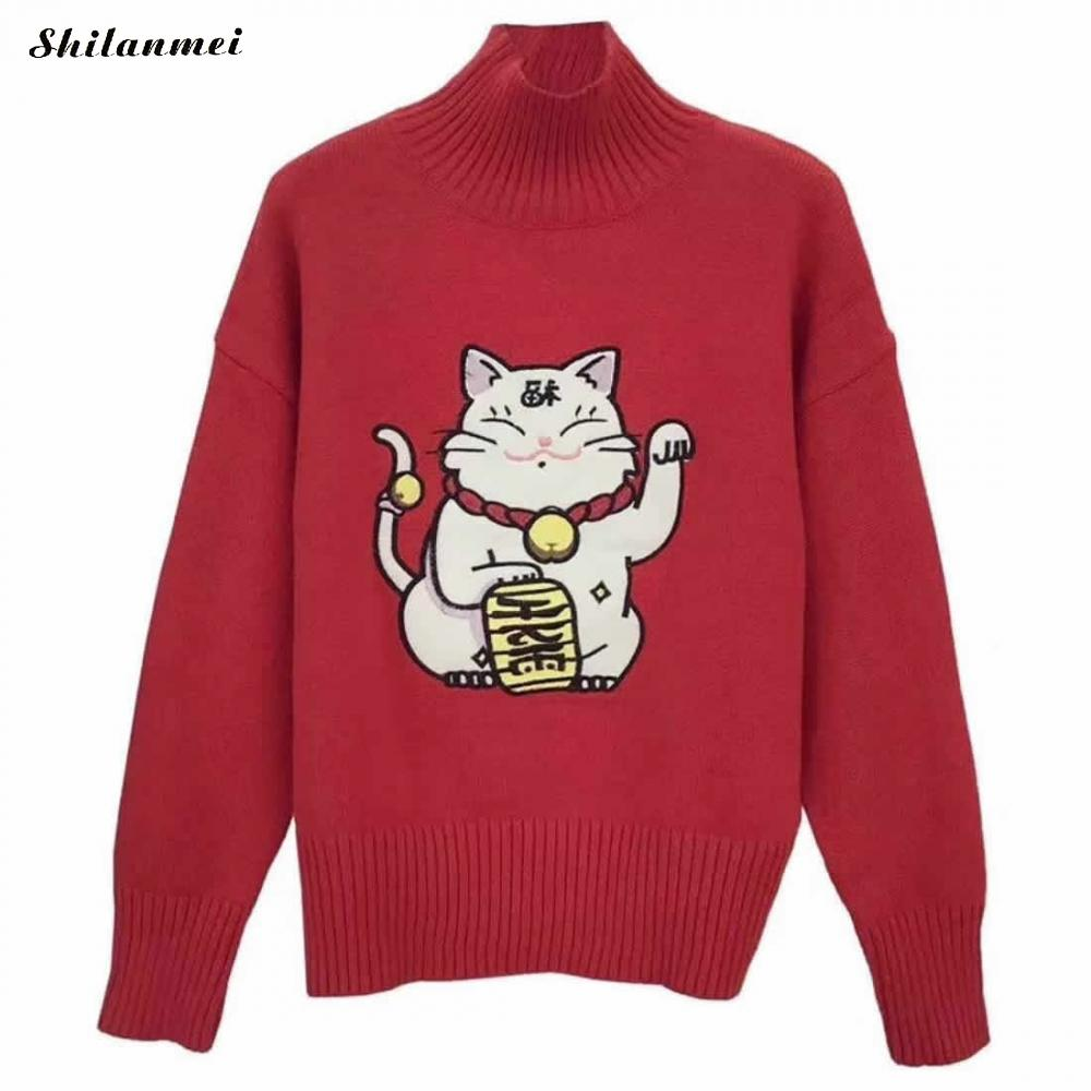 Turtleneck Knitwear Women Sweater Red Lovely Plutus Cat Pull Femme Hiver 2017 Christmas Pullover Winter Sweater Fashion Tops