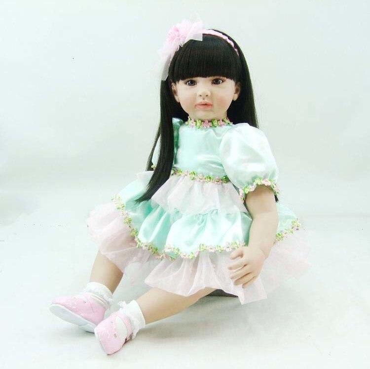 58 cm Silicone Reborn bébé poupée jouets avec Boutique bleu jupe princesse poupées belle cadeau d'anniversaire filles Brinquedos