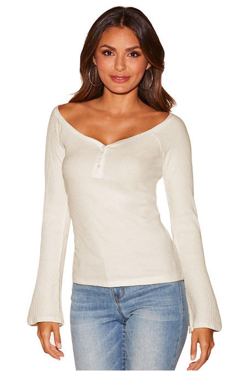 New Fashion Women Long Sleeve V Neck Tops T Shirts Casual -3981
