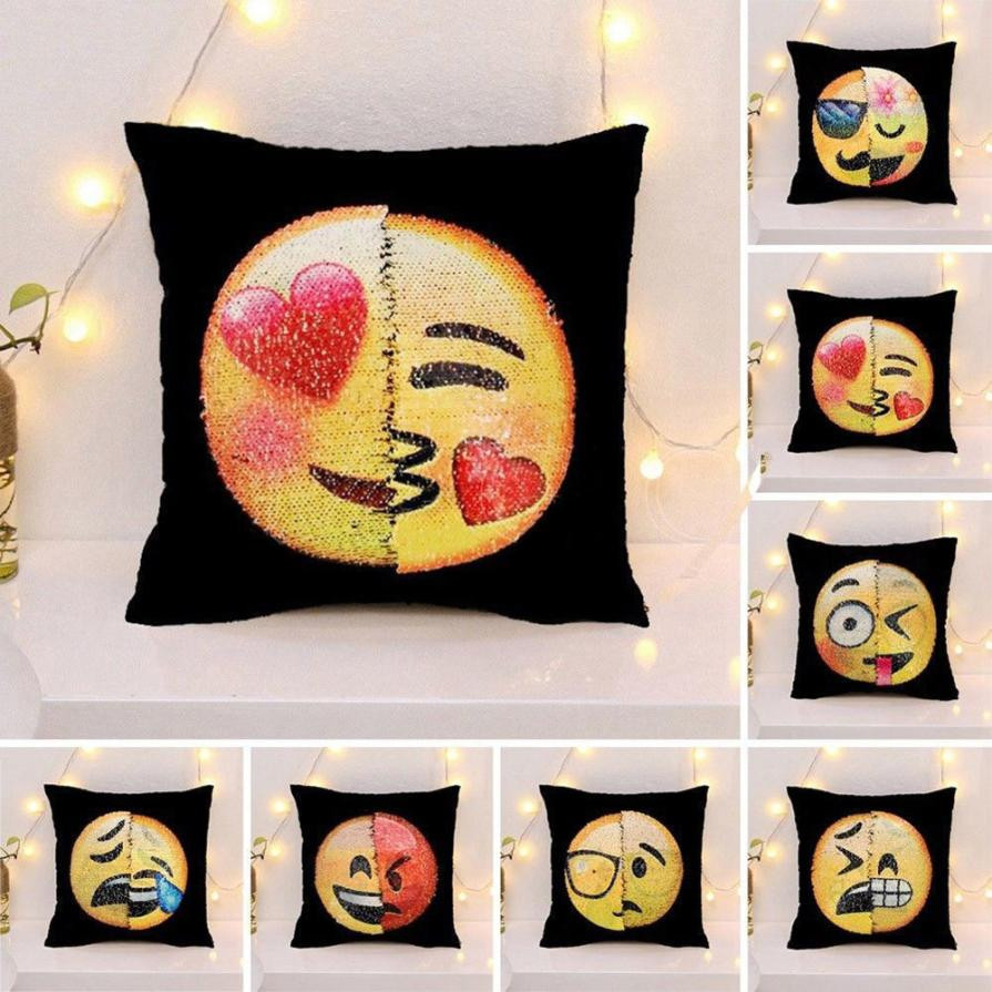 Lovely Emoji Cushion Cover Reversible DIY Sequins Mermaid Pillow Case Funny Changing Smiley Faces Decorative Pillowcase #L