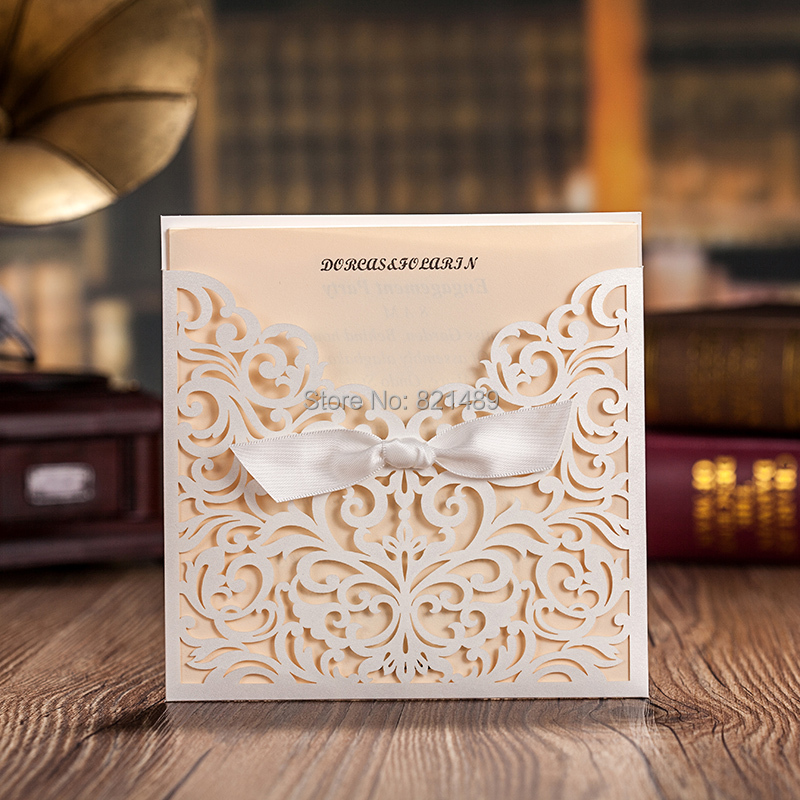 100pcs Lotlaser Cut Pocket Invitations For Wedding Light Purple Cards Customized Size And Printing Invites