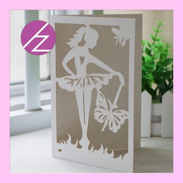 50pcs lot pretty girl design laser cut bat mitzvah card wedding