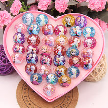 36pcs/lot Disney princess cartoon children ring boxed girl birthday party gift Mickey Mouse kid cosmetic toy Frozen accessories(China)