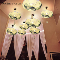 New Chinese style hand painted lotus leaf lanterns chandeliers corridors restaurants Chinese style classical cloth lamps