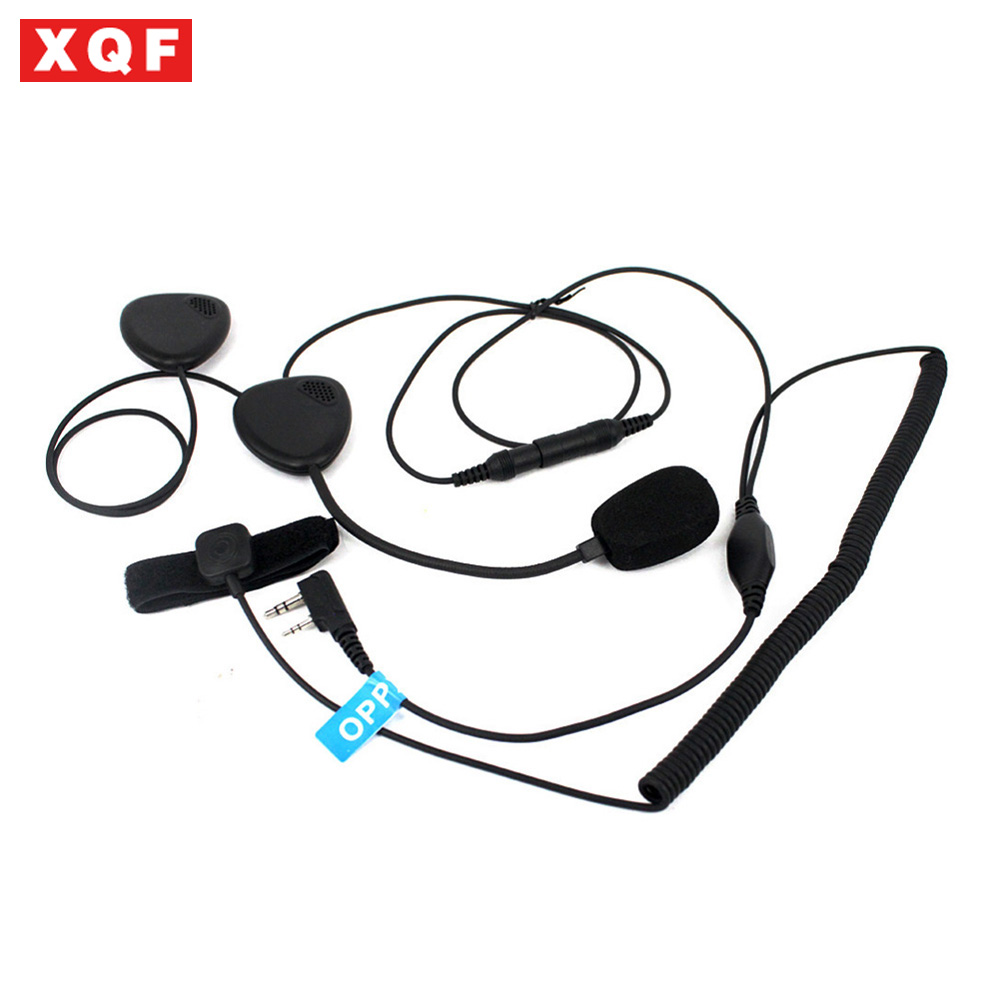 XQF 2 Broches Doigt PTT Moto Casque Radio Casque Microphone Pour Kenwood 3207 BAOFENG UV5R UV5RA Ham Radio Talkie Walkie