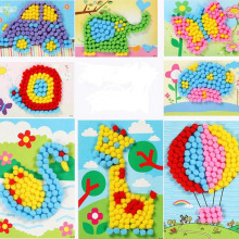 Subcluster 1 Set Pompon Paintings Colorful Plush Ball Stickers Kid Educational DIY Handmade Toy