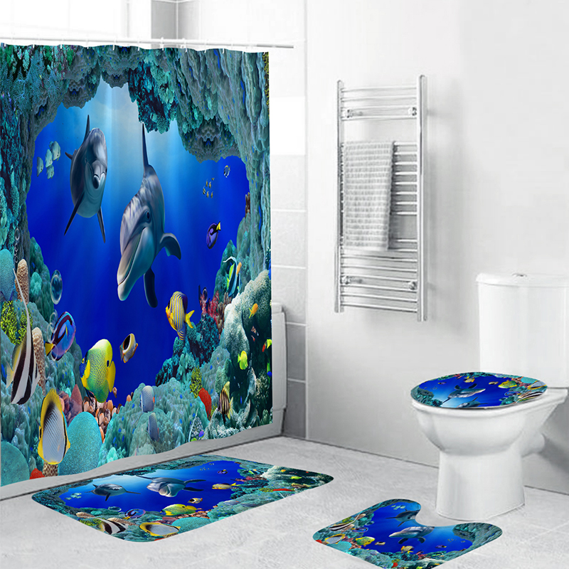 Blue Sea Turtle Art Shower Curtain Bath Mat Toilet Cover Rug Bathroom Decor Set