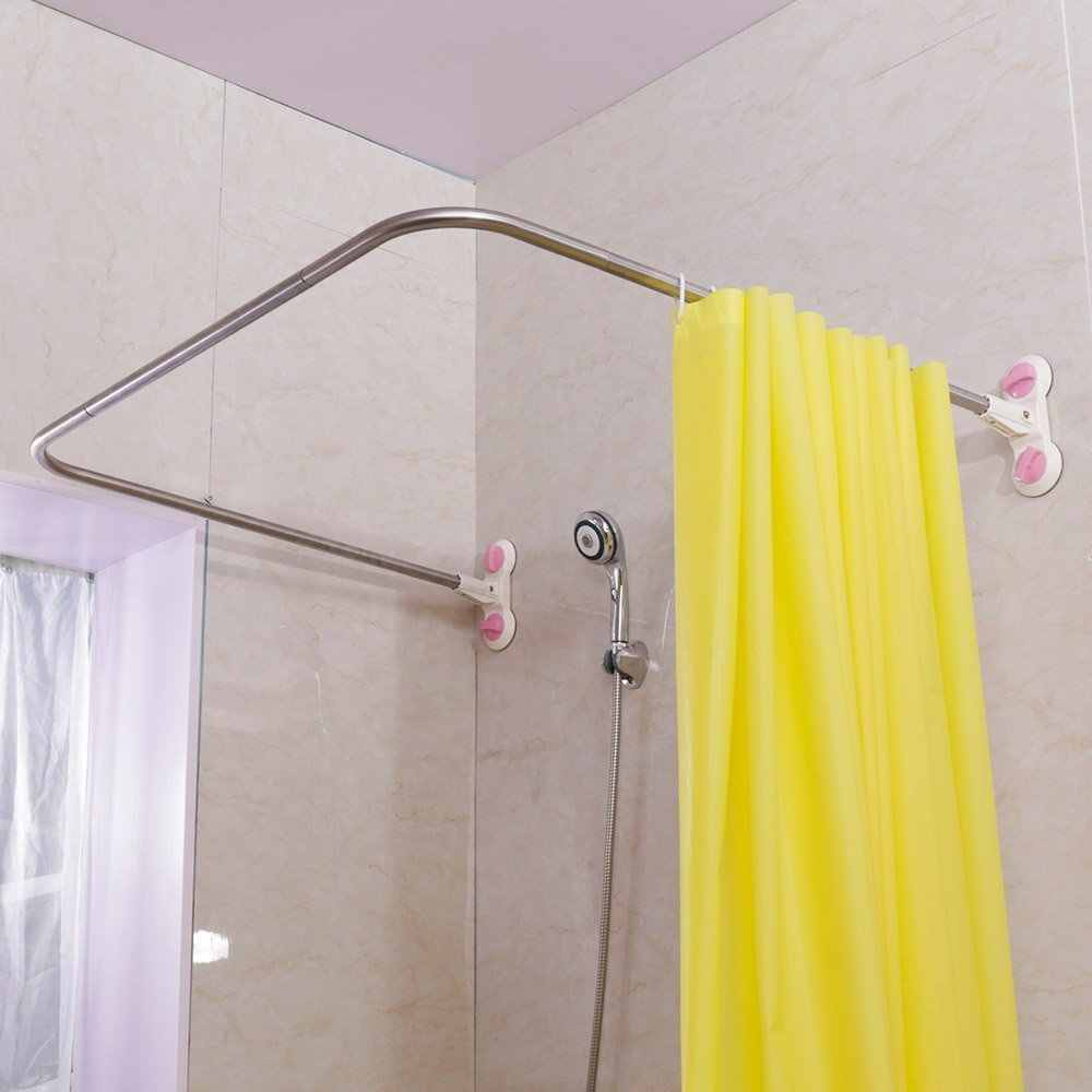 Curved Corner Shower Curtain Rod U Shaped Suction Cups Bathroom
