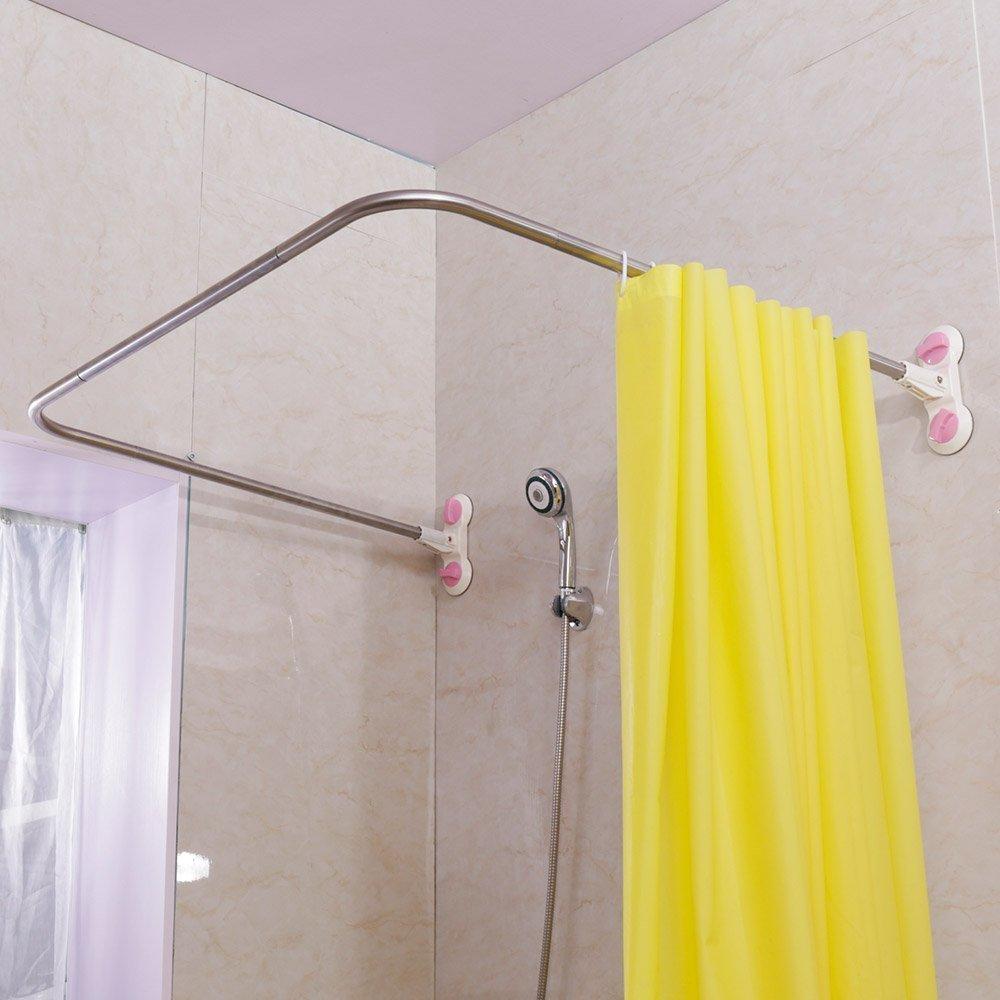 baoyouni barre de rideau de douche d angle incurve ventouses en forme de u rail de rideau de salle de bain 38 5 x 40