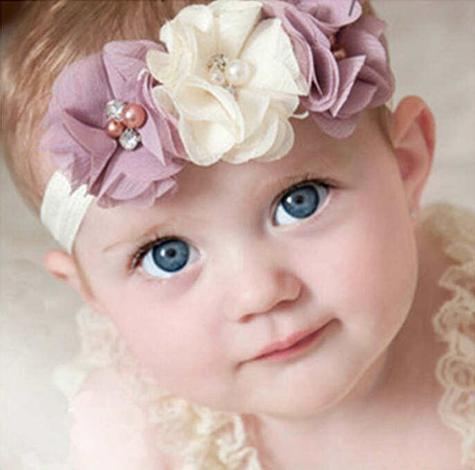 Newborn Chiffon Flower Headbands Pearl Diamond Hair Elastic Bands for Kids Flower hair accessories EASOV W045