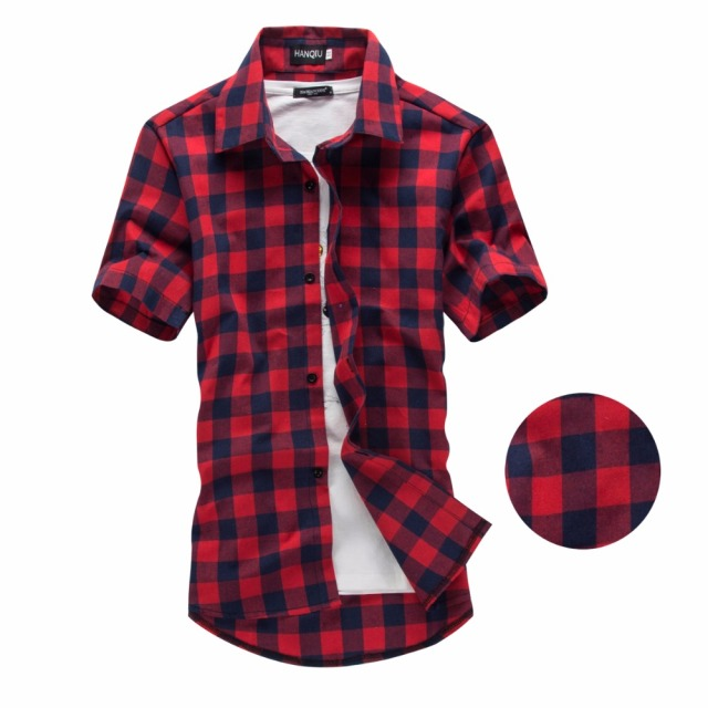 Red And Black Plaid New Summer Fashion Checkered Shirt Men Blouse 2
