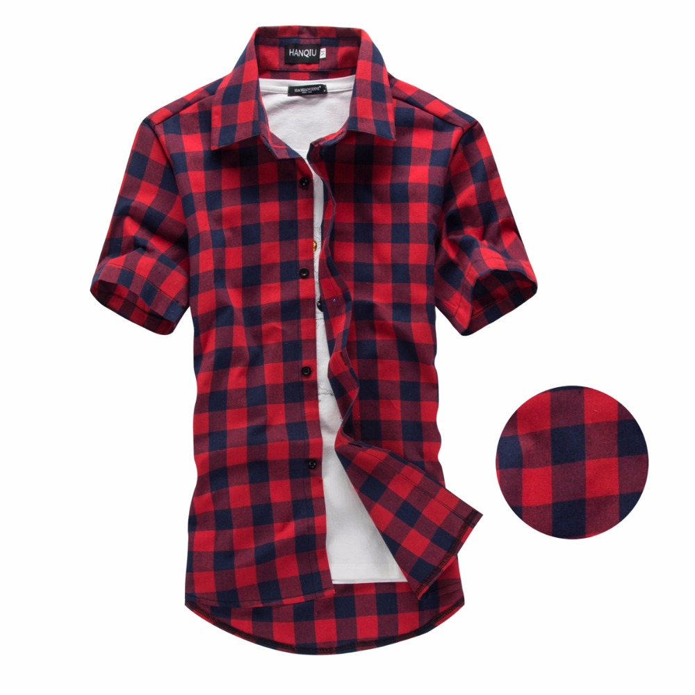 red and black plaid shirt men shirts 2017 new summer