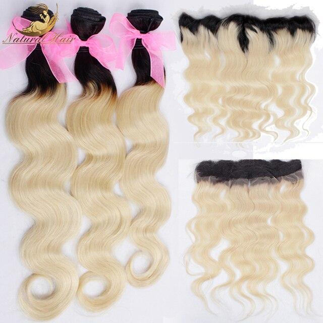 Бразильский Светлые Волосы Переплетения 3 Расслоения С Закрытия Шнурка Фронтальная 1B/613 Темные Корни Ombre Объемная Волна Наращивание Волос с Фасады
