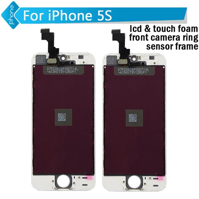 Para iphone 5 5c 5s lcd pantalla táctil digitalizador asamblea + espuma + espuma + anillo de cámara frontal táctil lcd + marco de sensor
