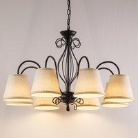 American Chandeliers Rustic Indoor Bedroom Wrought Iron Antique Brass Lamp Chandelier White Fabric Lampshade Light Fixtures