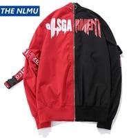 Patchwork Jackets Men Hip Hop Red Black Detachable Block Patchwork Rings Sweatshirt Baseball Coats Jackets Streetwear Q0126