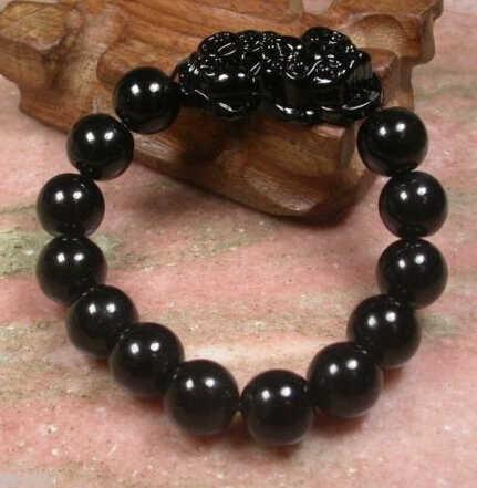 Wyan 370 Pretty Black k Talão Dragão Moeda Pulseira Feng Shui Pi Xiu Sorte Bracelet Bangle (A0429)