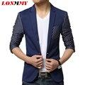 LONMMY 3XL Stripe blazer men wedding dress men blazer Slim fit Brand-clothing mens jacket Single Button 2016 spring coat suits