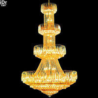 gold Chandeliers hall crystal lamp polished chrome gold chandelier lamp hotel lamp D120cm x H200cm