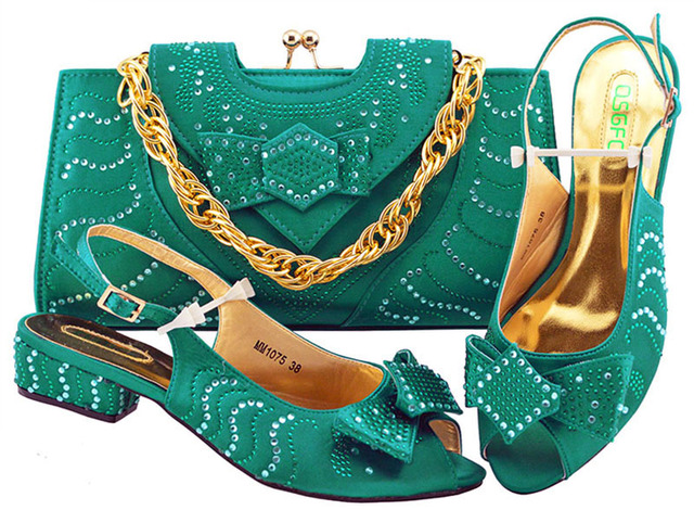PU Leather New Teal Ladies Italian Shoes And Bag Set 2018 African Shoes And Matching Bag Nigerian Wedding Shoes  MM1075