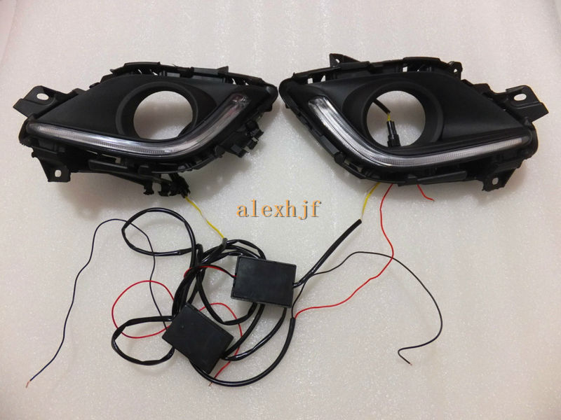 July King LED Light Guide Daytime Running Lights DRL Yellow Turn Signal Light case for Mazda 6 Atenza 2013~2016, 1:1 replacement july king led daytime running lights drl led fog lamp case for bmw 3 series e90 2006 2008 with yellow turn signal light