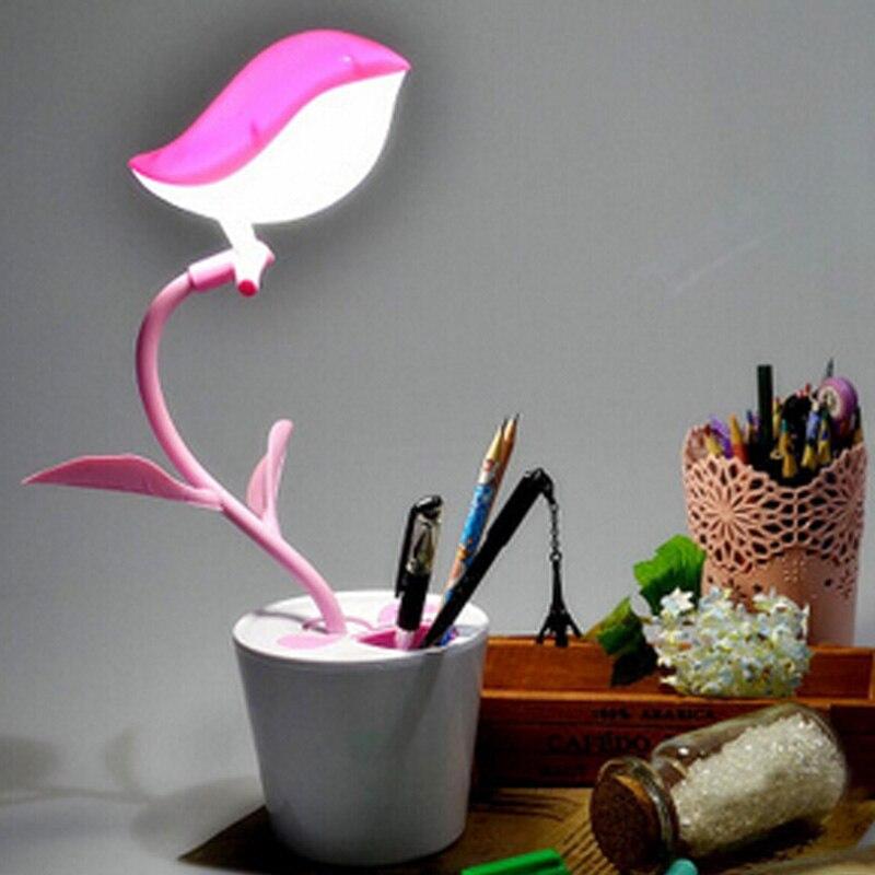Creative oiseau libre pot de fleur USB rechargeable LED protection des yeux lampe de table tactile-type troisième vitesse gradateur peut agir comme un porte-plume