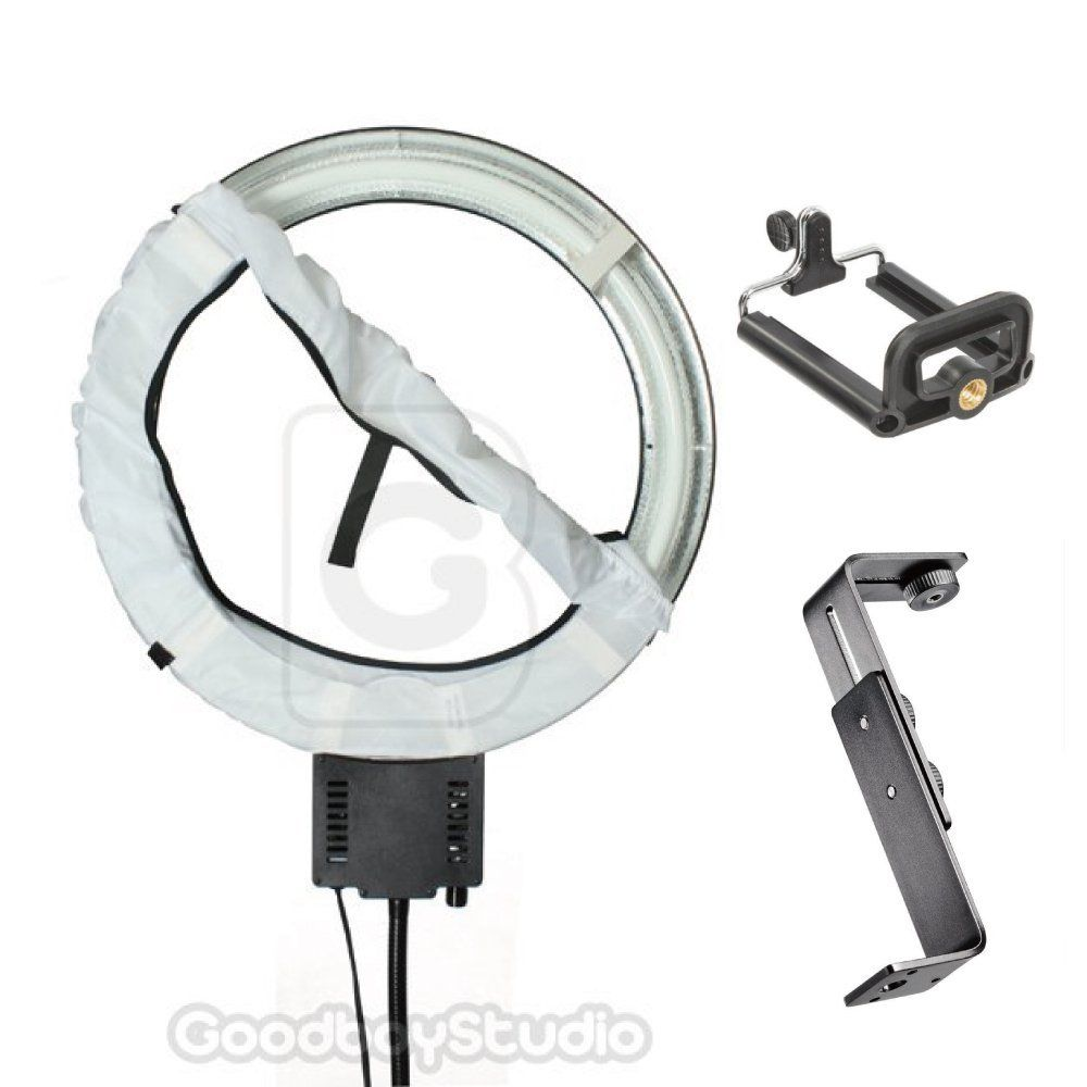 40W Ring Lamp Light + Diffuser + Camera Bracket with Mobile Phone Holder 110V wrumava 2 in 1 led ring selfie light with lazy phone holder 3 brightness holder bracket desk lamp for iphone android phone
