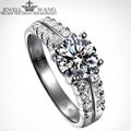 JEWELLWANG Moissanite Stone Rings for Women 18K White Gold Luxury Double Diamond Side 1.0CT Certified Engagement Rings Fine Gift