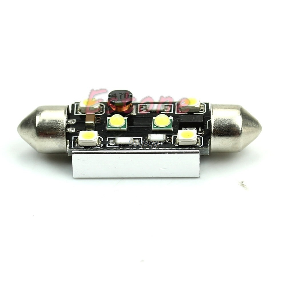 2mm 15W + 4-LED 3528 Error Free Festoon License Plate Light White Car Light Source Drop shipping