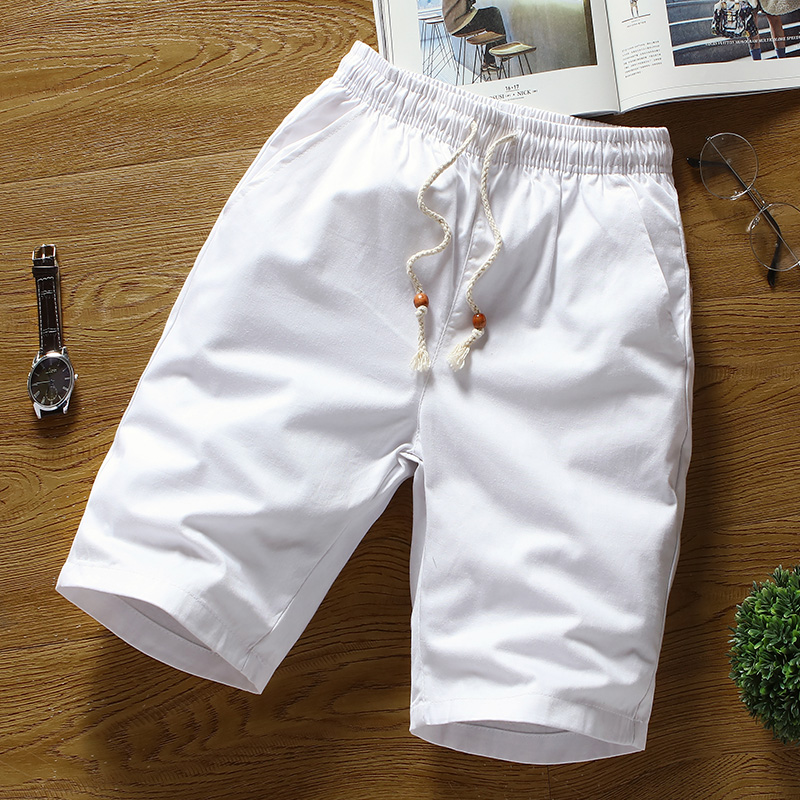 Summer Cotton Shorts For Men Large Size , Solid Color Shorts Male / White Straight Loose Men's Breathable Elastic Waist Shorts