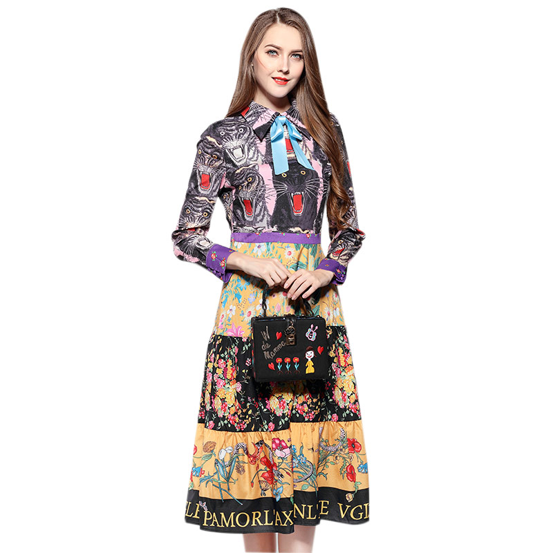 Factory outlests new fashion cartoon cat pattern printed dress female was thin slim hip dress with bow wq2344 wholesale dropship