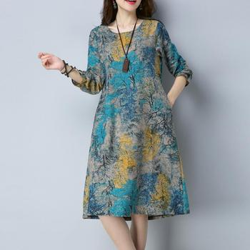 KANCOOLD Dress Fashion Women Long Sleeve O Neck Pocket Dress Cotton Linen Printed Loose Casual Dress women 2018AUG7 5