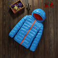 The boy girl's thin down jacket.Hooded winter coat.Children's clothing, 3 years old--10 years old