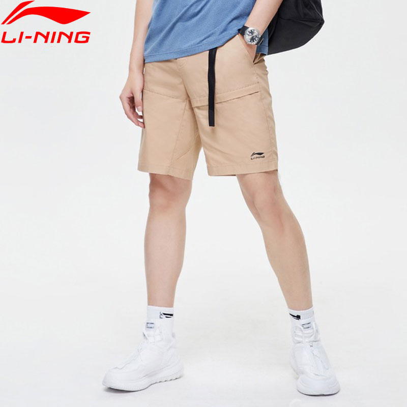 Li Ning Men The Trend Walkshorts Cotton Breathable Regular Fit Adjustable Waist LiNing Sports Shorts AKSP097 MKD1624-in Trainning & Exercise Shorts from Sports & Entertainment    1