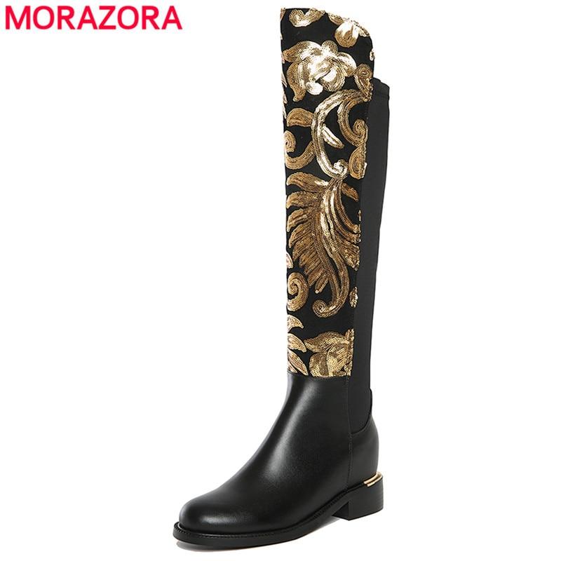 MORAZORA 2018 Nouvelle arrivée en cuir véritable bottes femmes talon carré automne hiver femmes genou haute moto bottes chaussures femmes