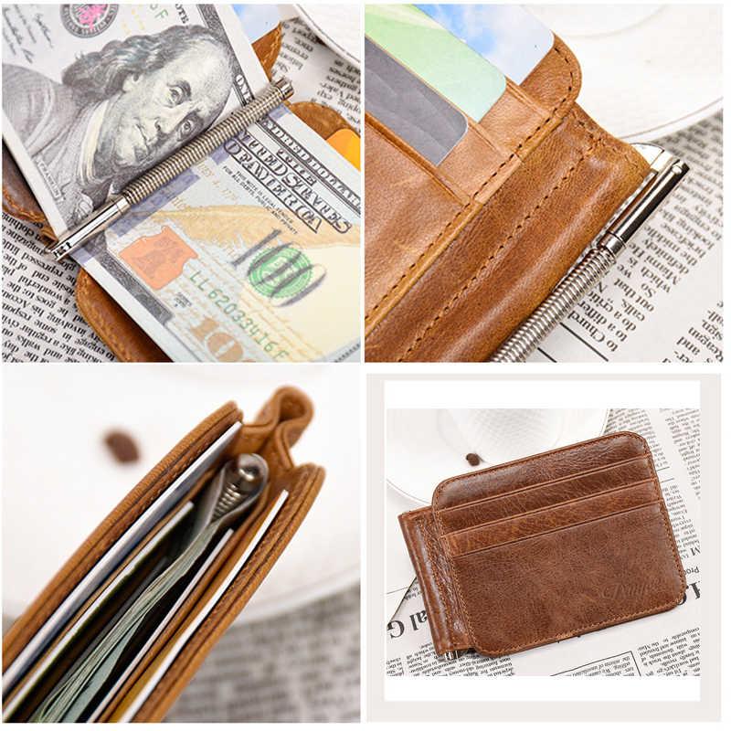 DANJUE 100% cuero genuino hombres de negocios dinero Clip billetera de moda tarjeta de crédito de identificación corta bolsa Rfid bloqueo Cowskin dólar monedero