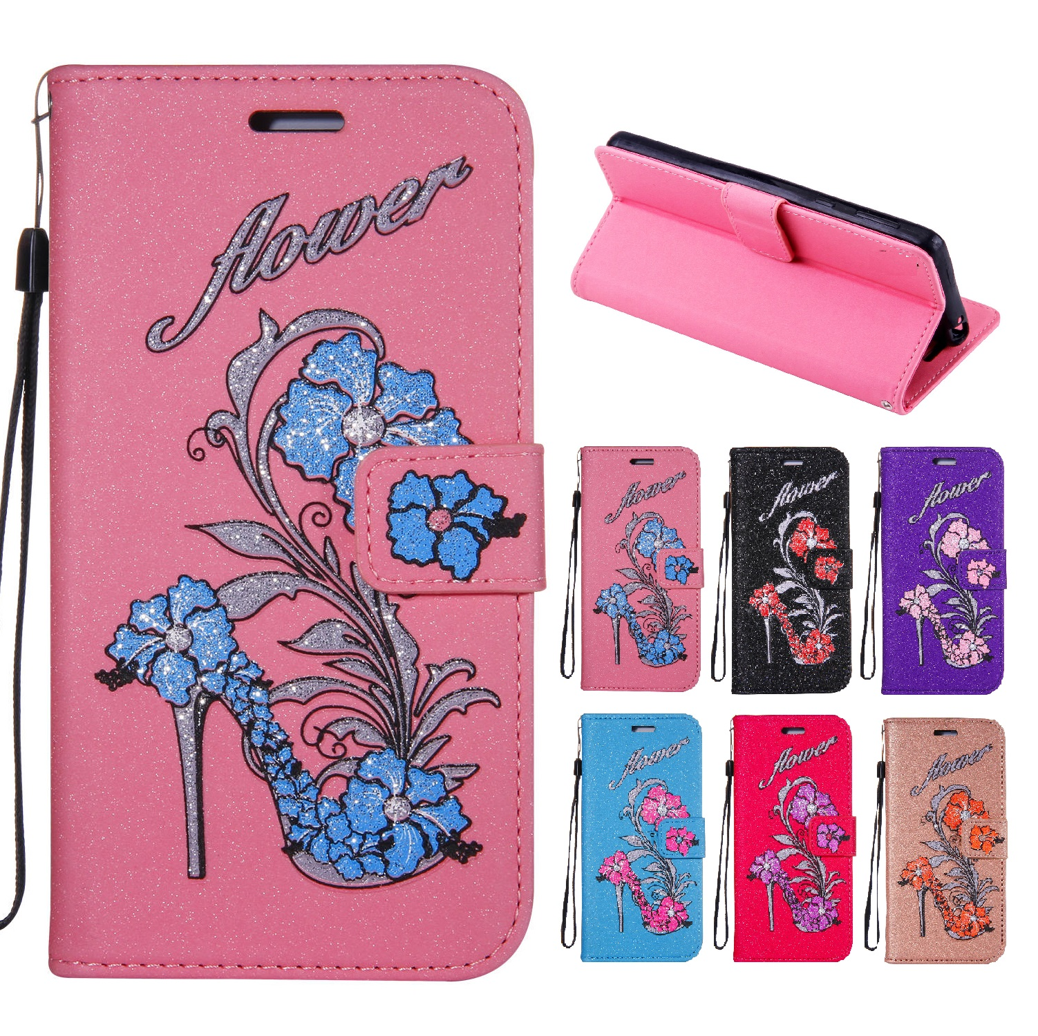 Case for Huawei NOVA 2 Plus BAC-L21 BAC-L01 Case Flash powder Wallet Phone Leather Cover for Huawei NOVA2 Plus Barca-L21 BAC L21