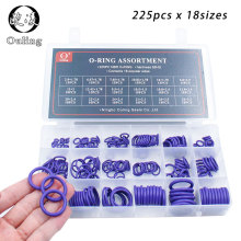 225Pcs 18Sizes O Rings Rubber Ring Seal Purple NBR Oring Nitrile Washer Sealing O-Rings Assortment Kit O-Ring Set Gasket Box