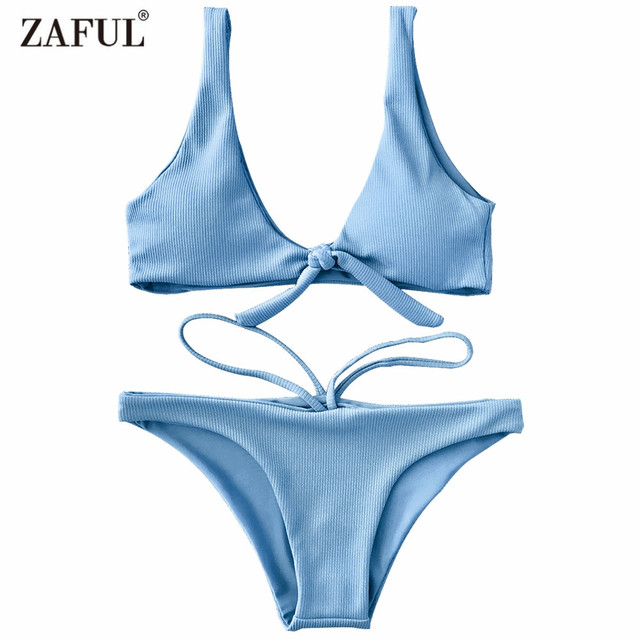 952bb7dea5d1 Zaful Bikini 2018 Textured Knotted Swimwear Women Scoop Bikini Set Sexy Low Waisted  U Neck Swimsuit Solid Biquni Bathing Suit