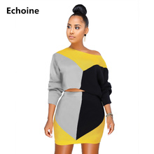 Women Patchwork 2 Piece Set Crop Top Hoodies And Mini Skirt Woman Casual Tracksuit Skirt Set Heart Print Club Outfit Streetwear