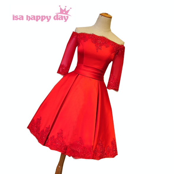 Vintage Lace Up Lace Satin Back Women Red Dress Occasion Bridesmaid Dresses With Half Sleeves For Wedding Guests H3974