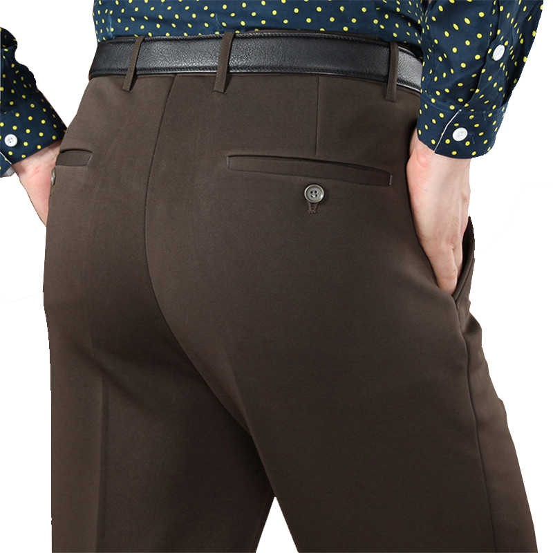 """Mu yuan yang mężczyźni polar długie spodnie 50% Off """"s garnitur spodnie zimowe zagęścić biznes w stylu casual, biurowy spodnie dla mężczyzn proste spodni"""